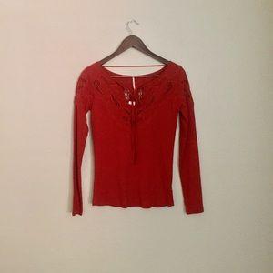 • free people burnt red yoke-neck top •